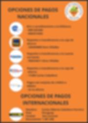 opciones de pago Nacionales Nutrisys 201