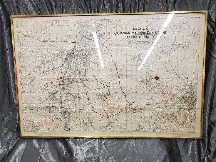 LARGE WWI CANADIAN MACHINE GUN CORPS BATTLE MAP