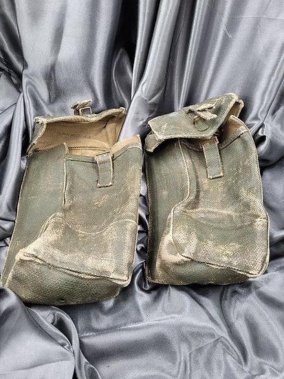 WWII BRITISH BLANCOED AMMO POUCHES
