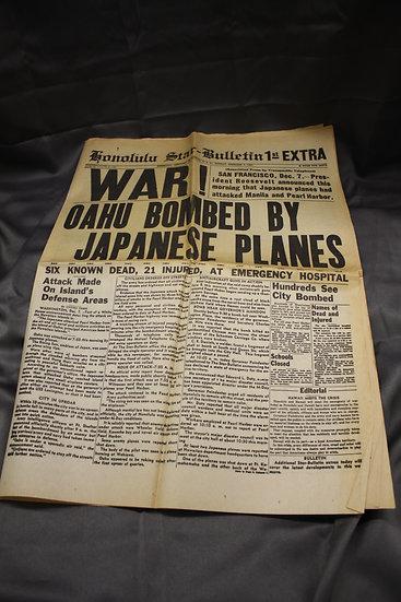 REPRO - Souvenir Newspaper Copy from Pearl Harbor Memorial