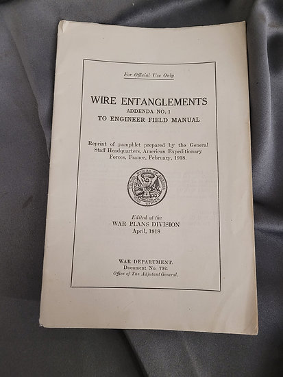 WWI WIRE ENTANGLEMENTS MANUAL