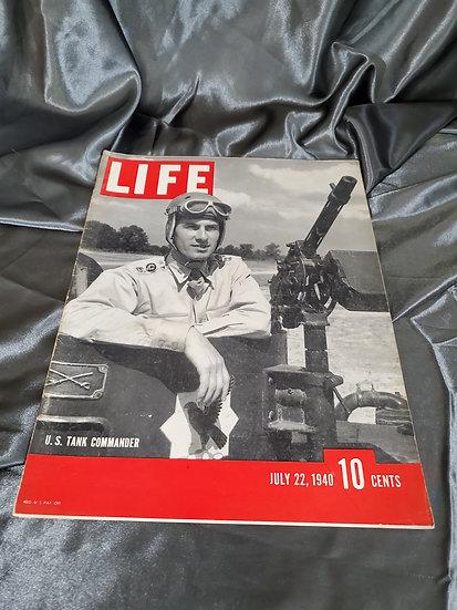 WWII LIFE MAGAZINE US TANK COMMANDER JULY 22 1940