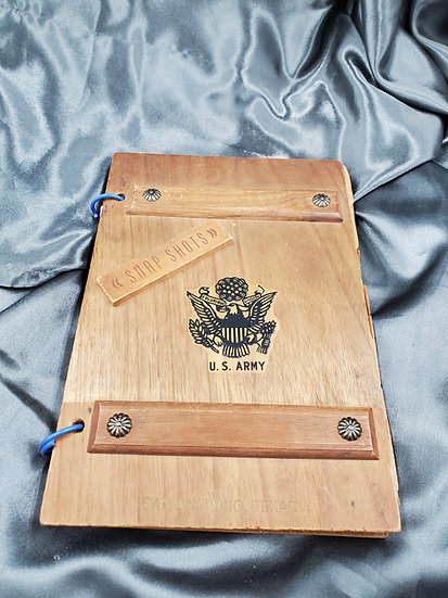 WWII SMALL US ARMY WOOD MADE PHOTO ALBUM