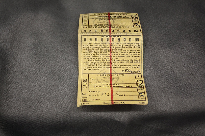 WWII Homecoming Bus Ticket