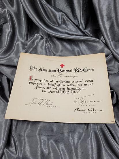 WWII AMERICAN RED CROSS WAR SERVICE CERTIFICATE