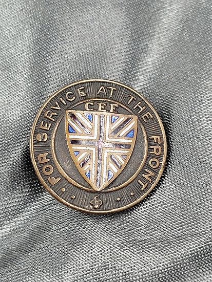 WWI CANADIAN FOR SERVICE AT THE FRONT PIN
