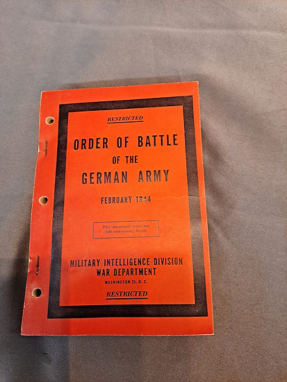 WWII US MILITARY BOOK ON GERMAN ORDER OF BATTLE