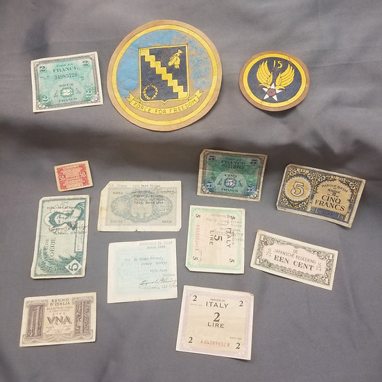 WWII 15th AF 98th BG PATCHES & SHORT SNORTER GROUPING