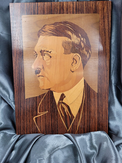 WWII GERMAN MARQUETRY PORTRAIT OF HITLER