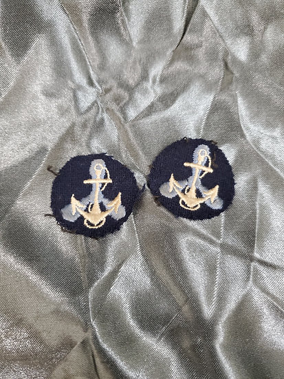 WWII US NAVY WAVES COLLAR ANCHORS