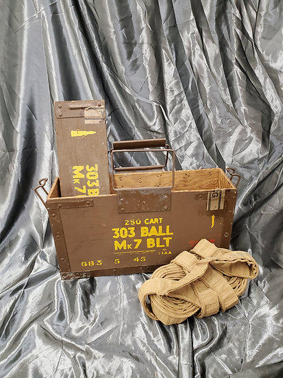 WWII BRITISH VICKERS AMMO BOX & BELT
