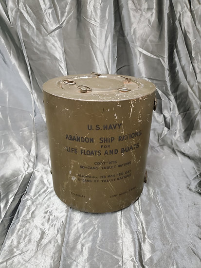 POST WWII US NAVY ABANDON SHIP RATIONS CANISTER