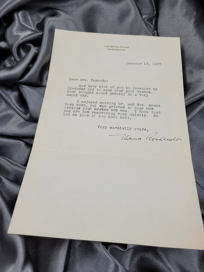 PRE-WWII LETTER SIGNED BY FIRST LADY ELEANOR ROOSEVELT