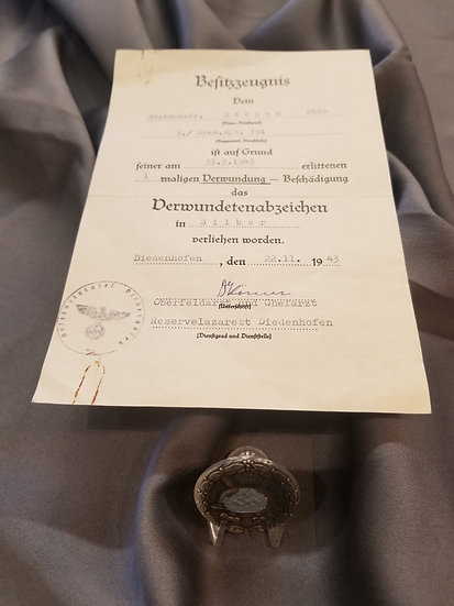 WWII German Silver Would Badge with Original Document