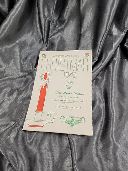 WWII THIRD MARINE DIVISION CAMP ELIOTT CHRISTMAS MENU