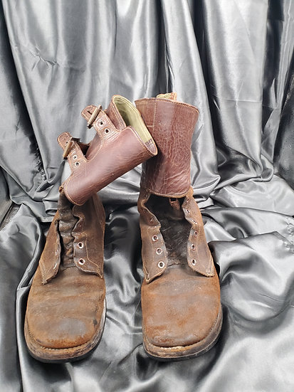 WWII US DOUBLE BUCKLE BOOTS SIZE 11 1/2
