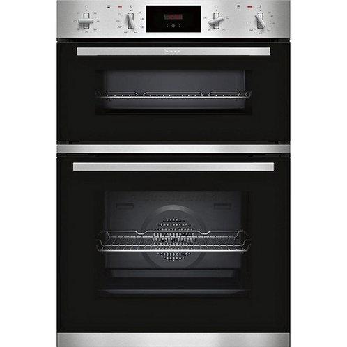 Neff U1GCC0AN0B Built In Electric Double Oven - Black & Steel