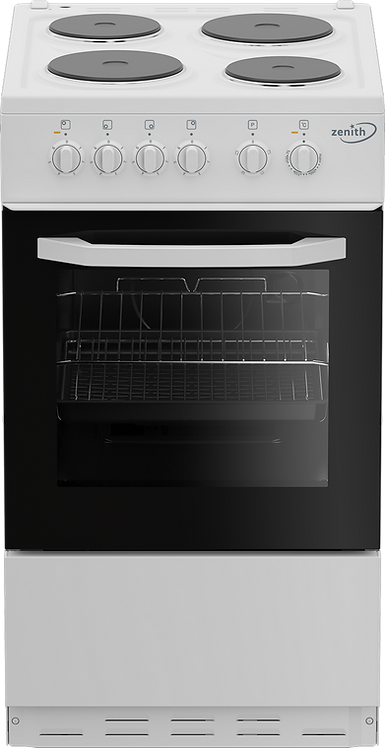 Zenith ZE503W 50cm Single Oven Electric Cooker with solid plate - hob White- A E