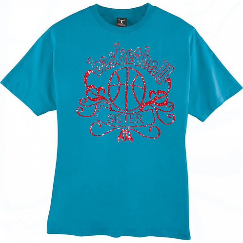 Red Bling Basketball Sister T-Shirt