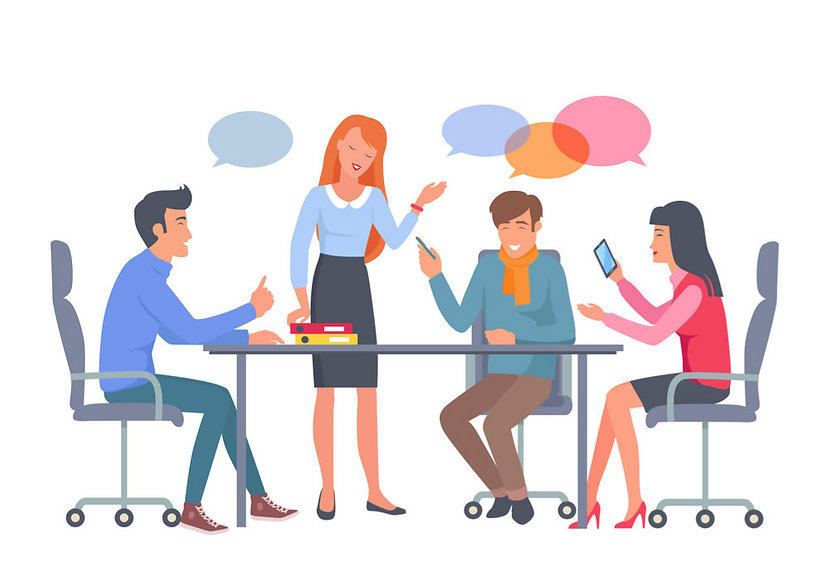 business-team-discuss-work-at-table-vect