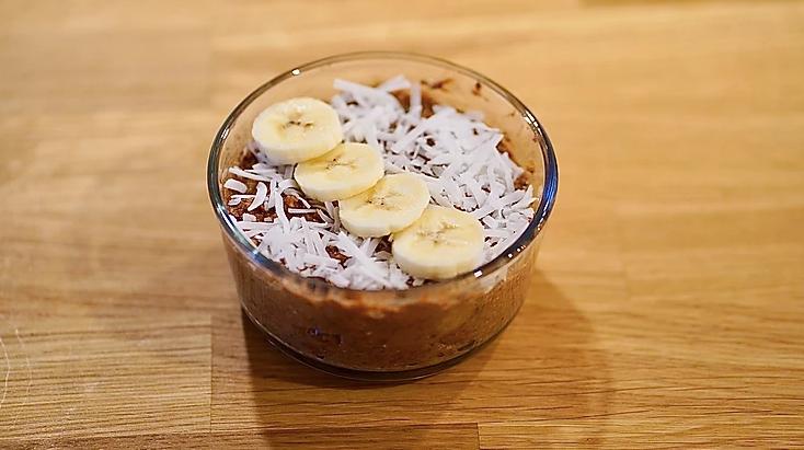 Coconut + Coffee Oatmeal Energy Bowl (Vegan, Trader Joe's_