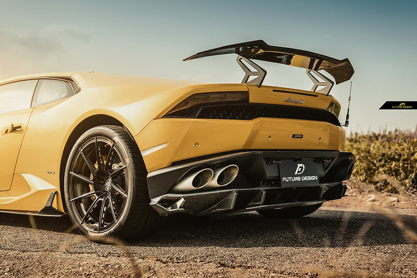 yellow lamborghini huracan with carbon fiber add rear diffuser like vorsteiner 1016 zacoe body kit