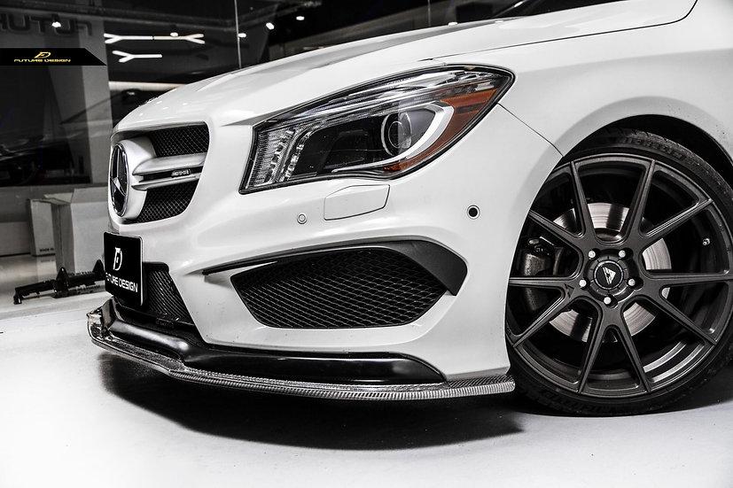 w117 c117 benz cla class with aggressive carbon fiber front lip spoiler splitter similar revozport renntech psm