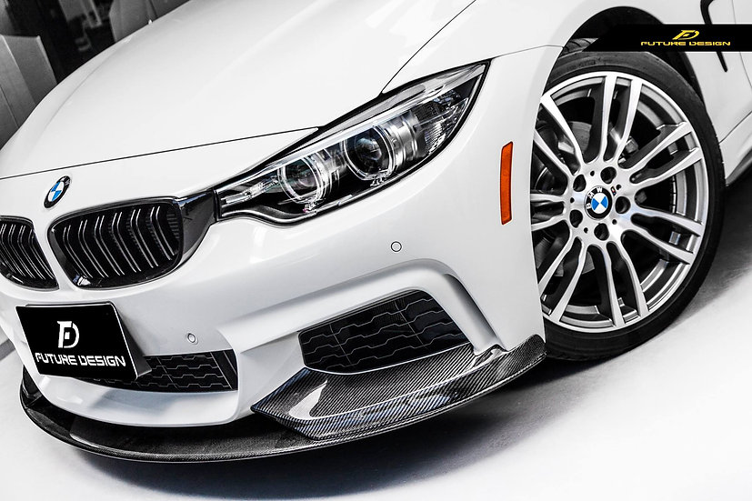 428i 430i 435i 440i alpine white 4-series with F32/F33/F36 4-Series M-Performance Style Carbon Fiber Lip
