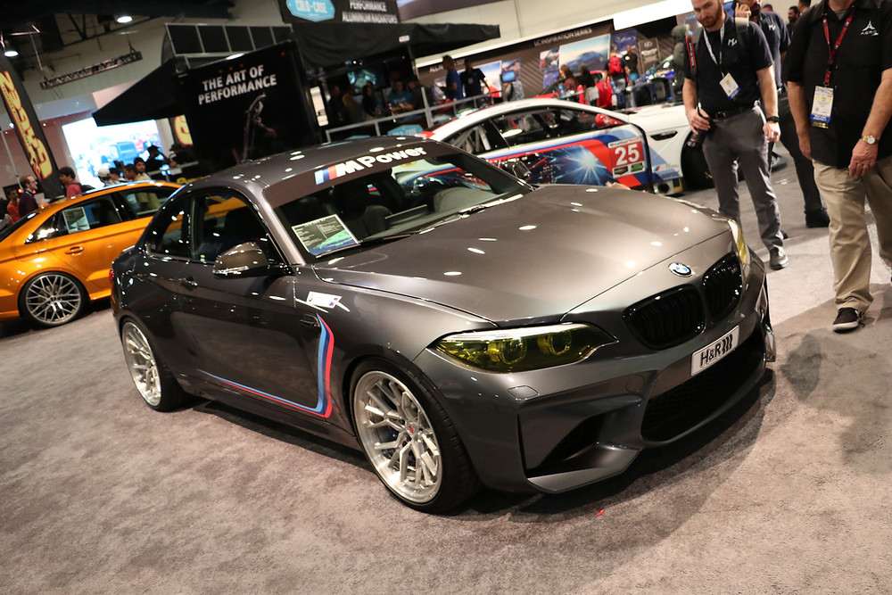 grey BMW F87 M2 at SEMA 2017 H&R Sponsored