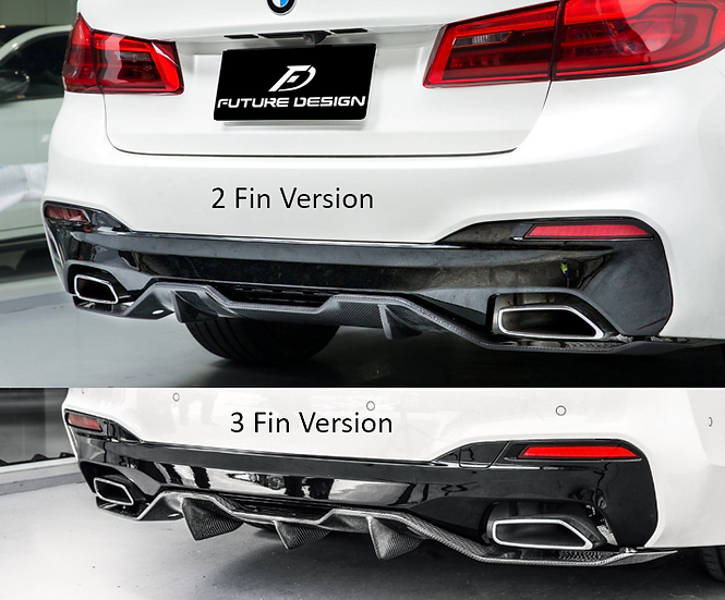 alpine white bmw g30 5-series m sport package with m-performance carbon fiber rear diffuser accessory