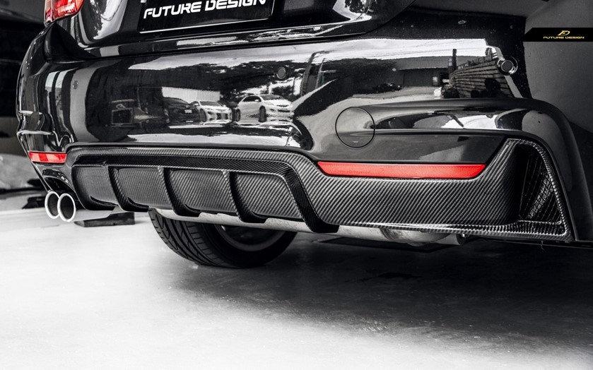 black f32 F33 F36 430i 428i M-Sport with carbon fiber m performance style diffuser