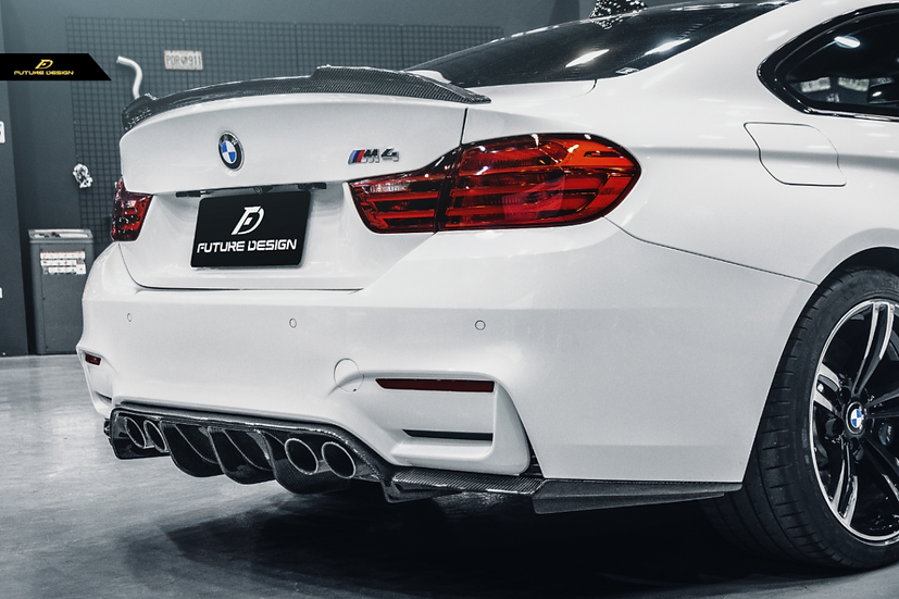 alpine white bmw f82 m4 coupe with cs style carbon fiber spoiler similar to psm
