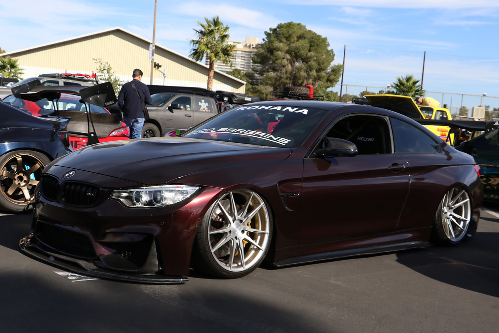 Purple F82 M4 coupe with rohana RF2 and bagged at SEMA 2017