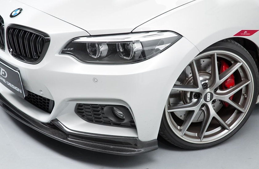 3d design carbon fiber front lip on alpine white F22 M235i M240i similar to m-performance, vorsteiner, PSM rw jl carbon