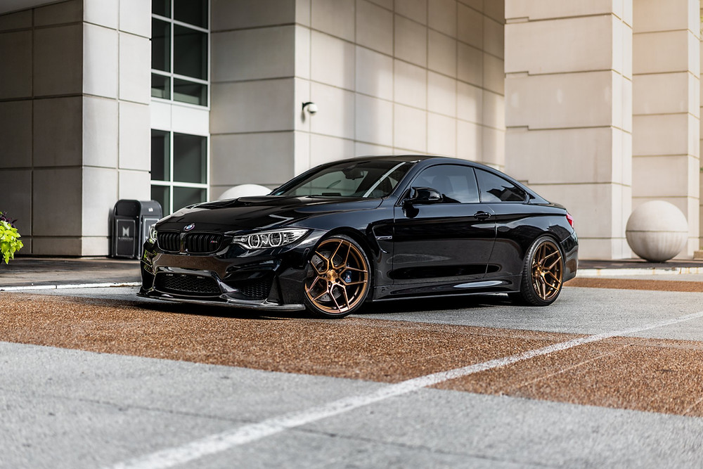 unique and special  one off carbon fiber front lip and rohana rfx11 bronze 20 inch on black bmw f82 m4 f80 m3
