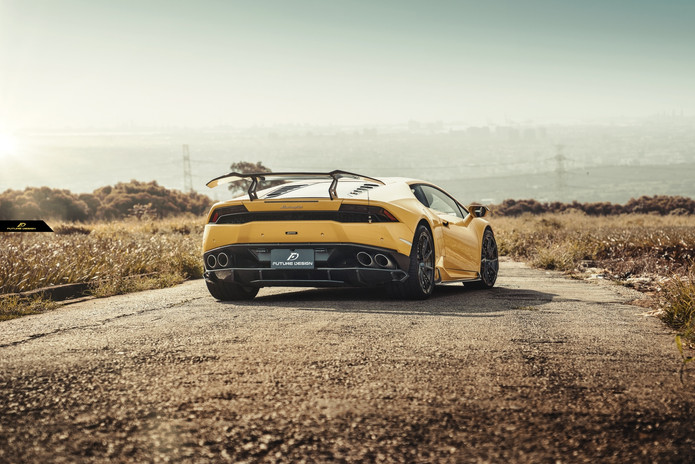 yellow huracan with future design carbon
