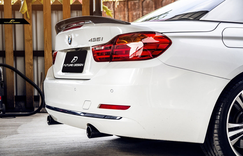 alpine white 435i convertible with carbon fiber m performance style spoiler