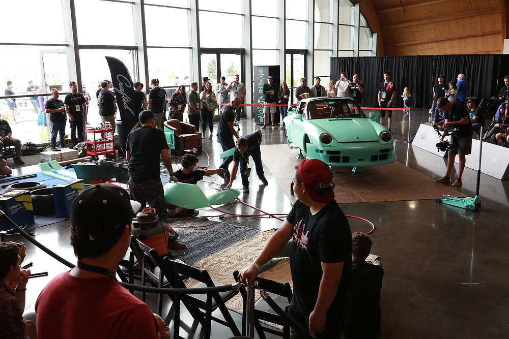 matte tiffany blue porsche 993 wide body rwb seattle #5 build at lemay auto museum tacoma washington with nakai san