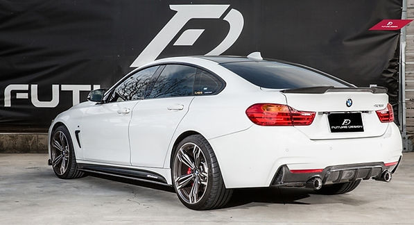 alpine white bmw F36 with m-performance carbon fiber side skirts, rear diffuser, rear spoiler, simlar to vorsteiner rw carbo jl carbon