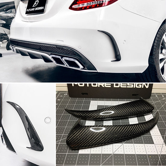 RS Rear Bumper Side Vents Carbon Fiber Dress Up - Benz W205 AMG