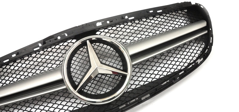 E63 Style Front Grill - Matte Silver Center Bar - W212 E-Class LCI