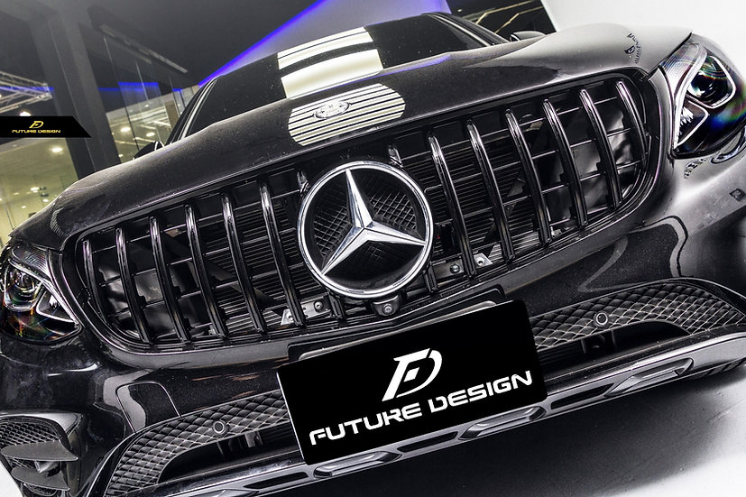 x253 c253 glc gle class with amg gt style front grill and carbon fiber front lip
