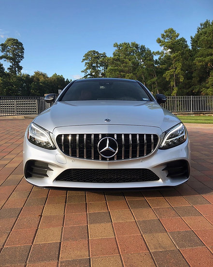 Iridium  silver 2019 C43 C300  C200 C63 w205 c205 with panamericana gt style front grill with chrome vertical stripe
