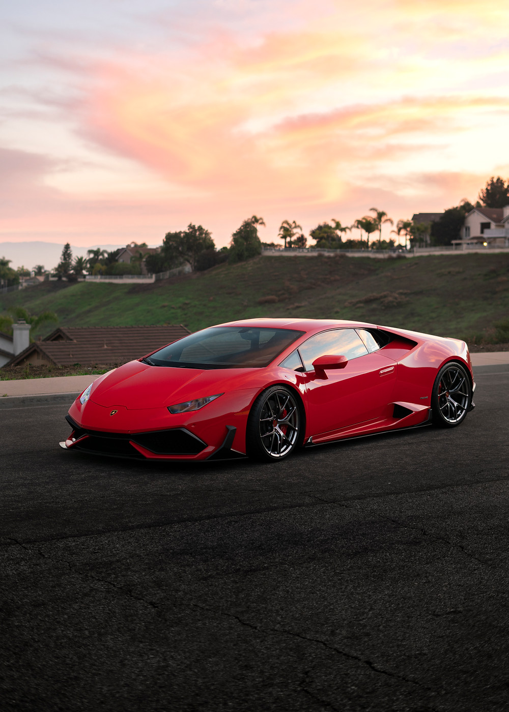 rosso lamborghini huracan with bbs f1r wheels lowered on novitec springs and future design full carbon fiber body aero kit