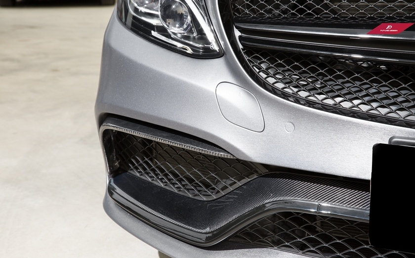 W205 C63 3 Pieces Carbon Fiber Lower Grill Shroud Replacement, matte silver steel metallic aluminum vinyl wrapped