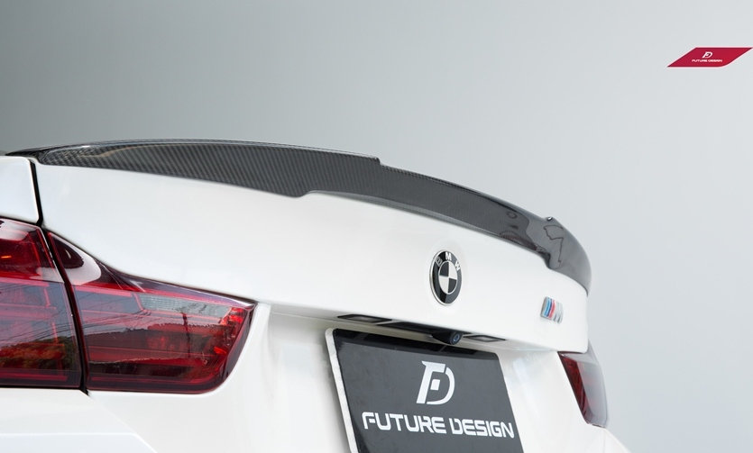 alpine white BMW F32 4-series 435i 440i 428i with carbon fiber spoiler similar to vorsteiner m-performance psm rw jl