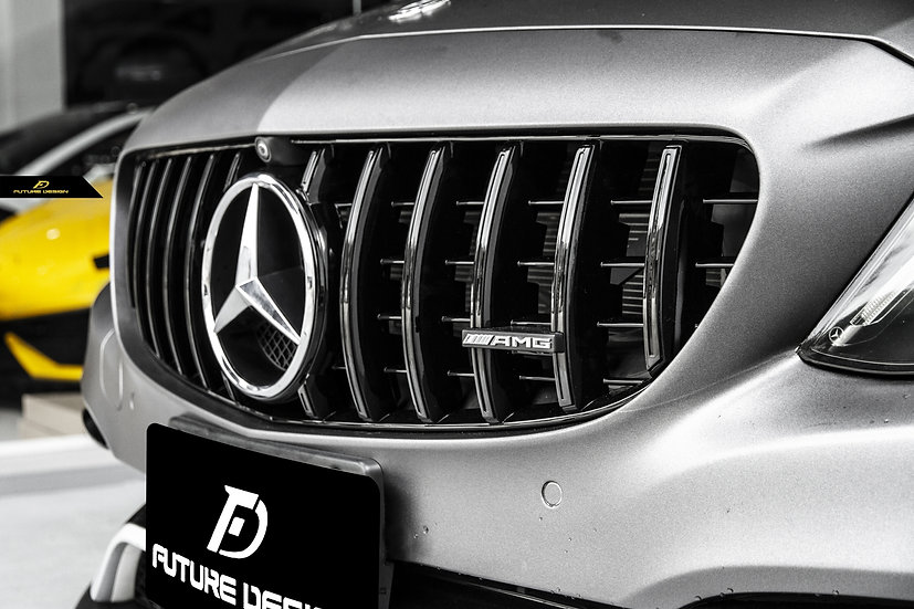 grey metallic wrapped w205 c63 with gloss black panamericana amg gtr style grill