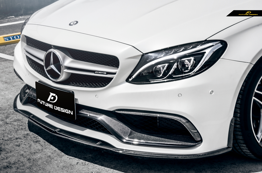 AN made manufactured C63 conversion replica front bumper compatible fit carbon fiber edition 1 mode style front lip
