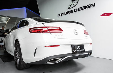 w238 with carbon fiber rear spoiler and panamericana gt style grill