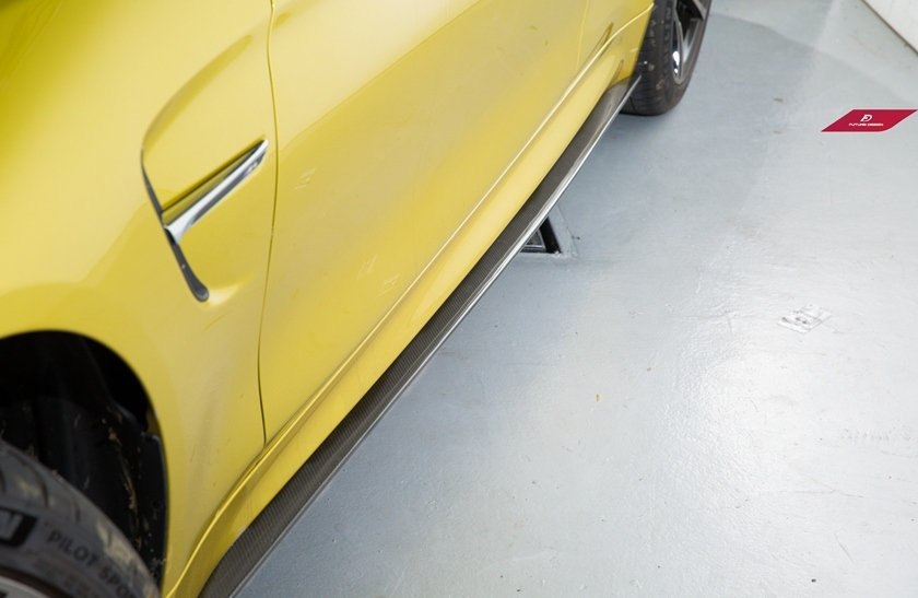 BMW F82 F83 M4 coupe convertible carbon fiber side skirt splitters by future design modeled after 3D design japan